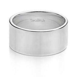 TwoBirch 10 Millimeter Wide Plain Men's Wedding Ring in Solid Platinum