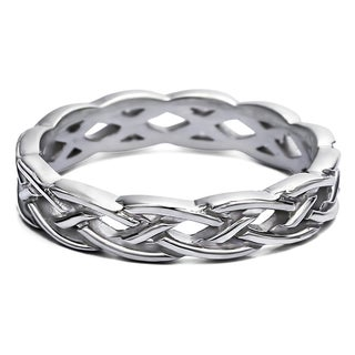 TwoBirch Celtic Infinity Braided Men's Ring in Solid 10k Gold 4.5 MM Wide