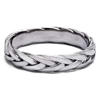 TwoBirch Braided Men's Wedding Ring in Solid 10k Gold 4.5 MM Wide