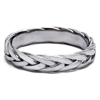 TwoBirch Men's 14k Gold Braided Wedding Ring