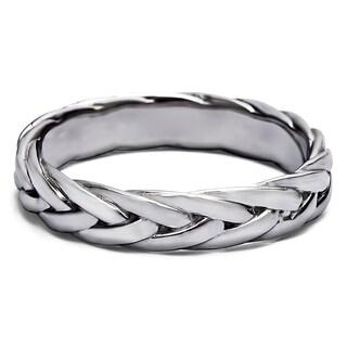 TwoBirch Men's 14k Gold Braided Wedding Ring
