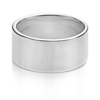 TwoBirch 10 Millimeter Wide Plain Men's Wedding Ring in Solid 10k Gold