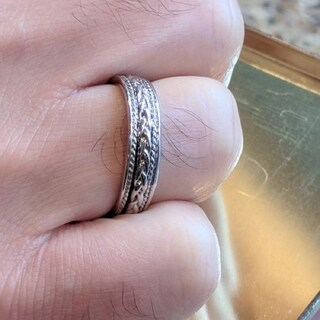 TwoBirch Embellised Celtic Infinity Braided Wedding Band in Solid 10k Gold