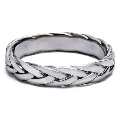 TwoBirch Braided Men's Wedding Ring in Solid Platinum