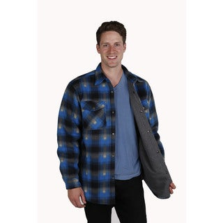 Men's thermal lined plaid printed fleece shirt jacket with snap front & cuff closure.