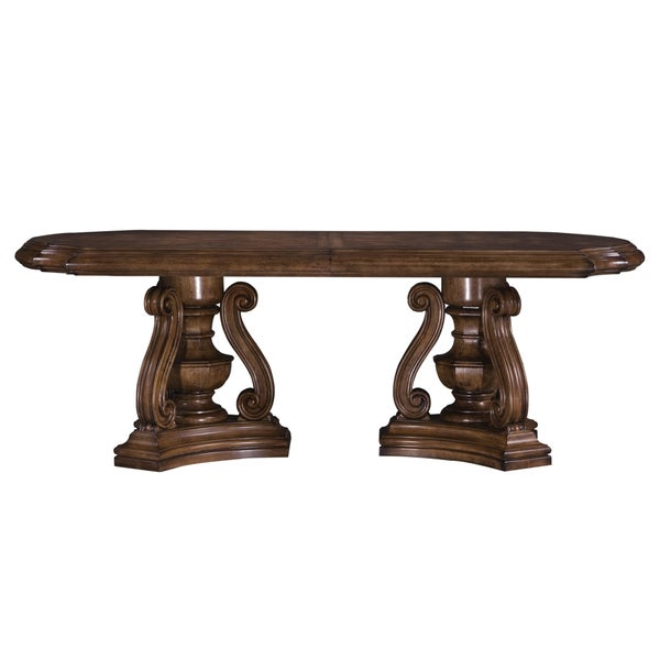 Ski San Mateo Cuccino Wood Double Pedestal Dining Table