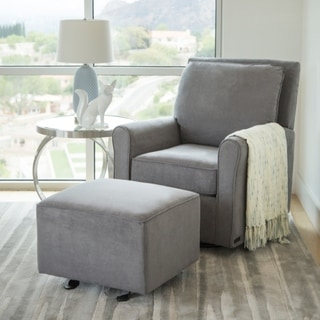 Abbyson Shiloh Beige Wood/ Metal/ Fabric Gliding Chair and Ottoman