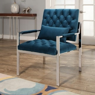 Abbyson Ryder Stainless Steel and Velvet Accent Chair Teal
