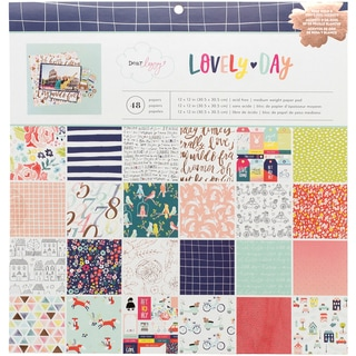 """American Crafts Single-Sided Paper Pad 12""""X12"""" 48/Pkg-Dear Lizzy Lovely Day"""