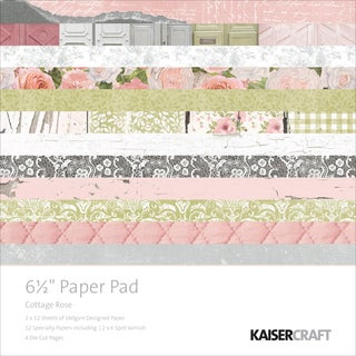 "Kaisercraft Paper Pad 6.5""X6.5"" 40/Pkg-Cottage Rose"