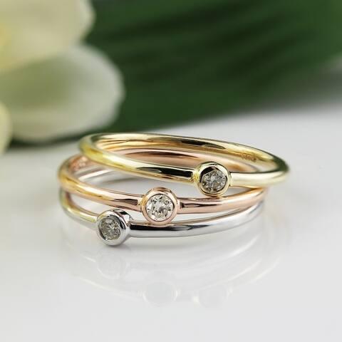 Auriya 0.06cttw Ultra-Thin Stackable Accent Diamond Ring 10K Gold Bezel-set