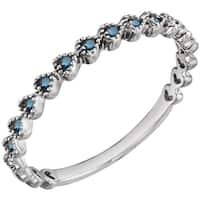 Auriya 10K Gold 0.06ct TDW Petite and Delicate Vintage Heart Blue Diamond Stackable Ring