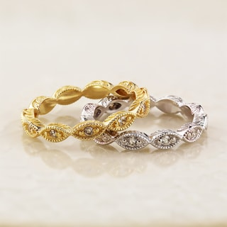 Auriya 10K Gold 1/8ct TDW Vintage-Inspired Diamond Stackable Ring