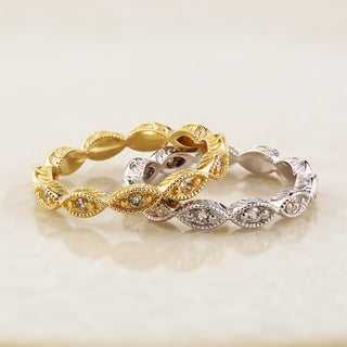 Auriya 10K Gold 1/8ct TDW Vintage Stackable Diamond Eternity Wedding Band (More options available)
