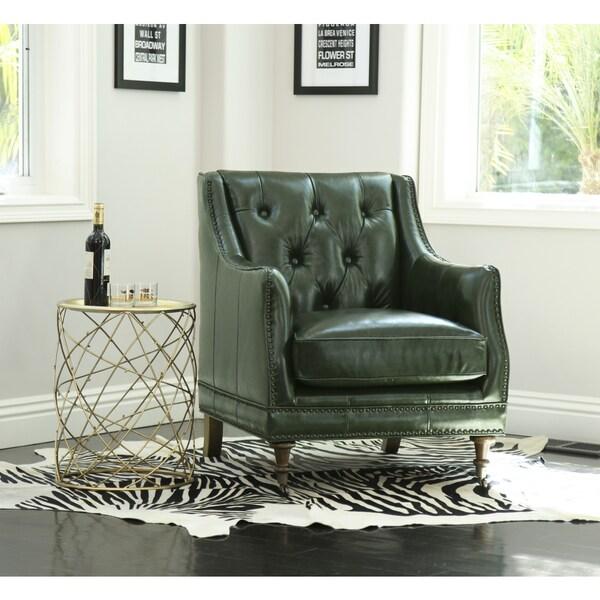 Bon Abbyson Nixon Emerald Green Top Grain Wax Leather Chair