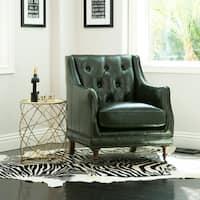 Abbyson Nixon Emerald Green Top-Grain Wax Leather Chair