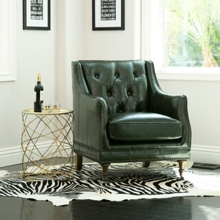 Abbyson Nixon Emerald Green Top-Grain Wax Leather Chair