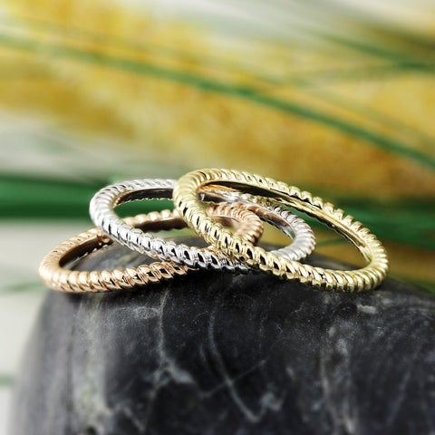 Auriya 10K Gold Petite Ultra-Thin Twisted Rope Stacking Ring