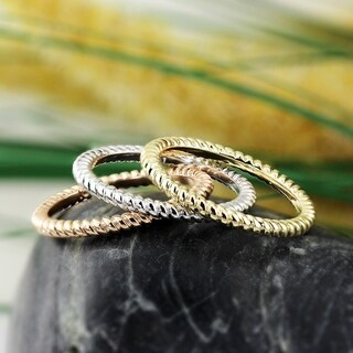 Auriya 10K Gold Twisted Rope Stackable Ring