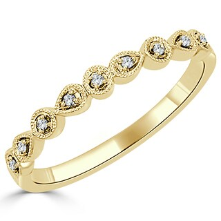 Auriya 10K Gold .05ct TDW Vintage Diamond Accent Stackable Wedding Band