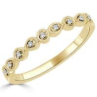 Auriya 10K Gold .05ct TDW Vintage Diamond Accent Stackable Wedding Band
