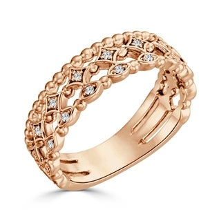 Auriya 10K Gold 1/8ct TDW Diamond Layered Lace Wedding Band