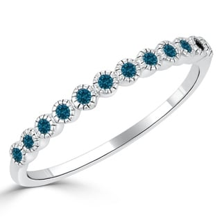 Auriya 10K Gold 1/6ct TDW Carved Blue Diamond Bezel Stackable Ring
