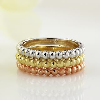Auriya Women's 10k Gold Petite Ultra-Thin Beaded Style Stacking Ring