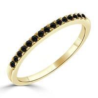 Auriya 10K Gold 1/5ct TDW  Black Diamond Stackable Wedding Anniversary Band
