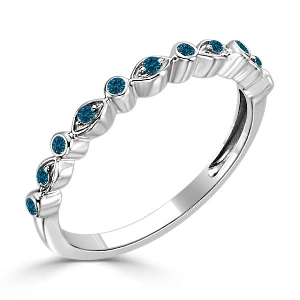 Auriya 10k Gold 1 8ct Tdw Pee Round Blue Diamond Wave Shaped Stacking Ring