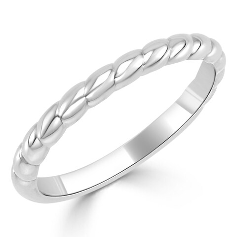 Auriya 10K Gold Stackable Twisted Rope Ring