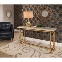 Abbyson Archer Brass Finished Beige Top Sofa Table