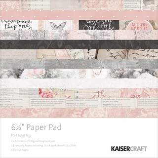 """Kaisercraft Paper Pad 6.5""""X6.5"""" 40/Pkg-P.S. I Love You"""