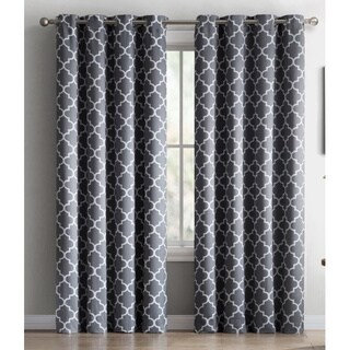 HLC.ME Lattice Print Blackout Grommet Curtain Panel Pair