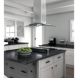 ZLINE 30 in. 400 CFM Island Mount Range Hood in Stainless Steel& Glass (Gl9i-30-400) - Silver