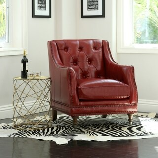 Abbyson Nixon Red Top Grain Wax Leather Chair