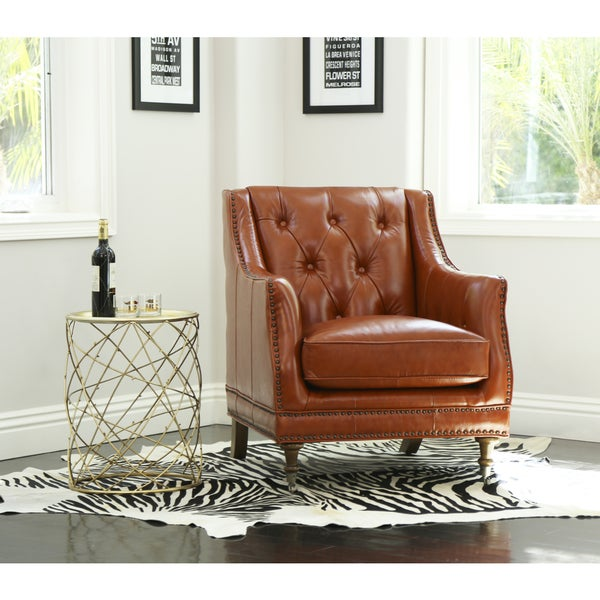 Abbyson Nixon Burnt Orange Top Grain Wax Leather Chair