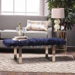 Damie Faux Furry Ottoman by Christopher Knight Home