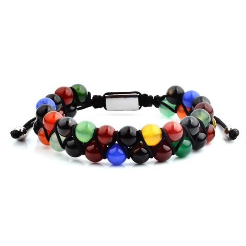 Polished Multi Color Agate Beaded Adjustable Bracelet (15.5mm Wide)