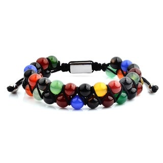 Polished Multi Color Agate Beaded Adjustable Bracelet (15.5mm Wide)