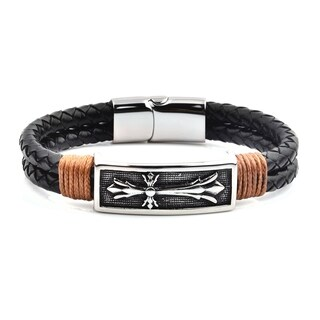 Crucible Men's Black Leather Stainless Steel Cross ID Bracelet (15.5mm Wide) - 8.5""