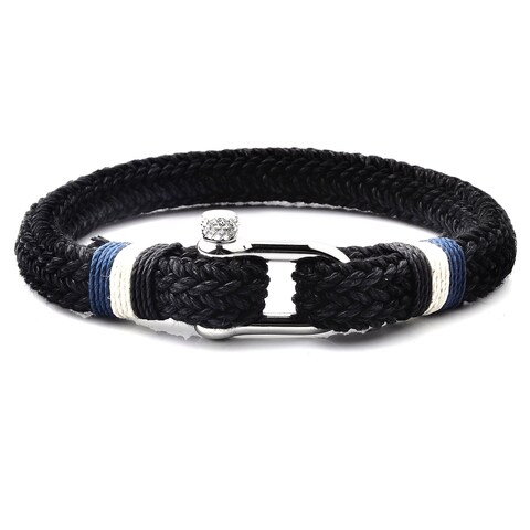 """Woven Cotton Cord Screw Clasp Stainless Steel Bracelet (9.75mm Wide) - 8.75"""""""