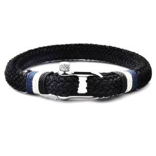 Woven Cotton Cord Screw Clasp Stainless Steel Bracelet (9.75mm Wide) - 8.75""