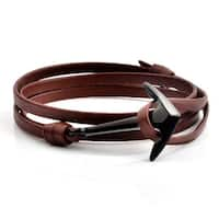 Black Plated Polished Stainless Steel Anchor Leather Wrap Bracelet (4.5mm Wide)