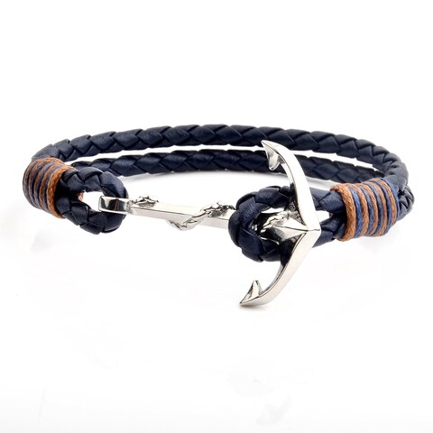 """Polished Stainless Steel Anchor Blue Braided Leather Bracelet (8.5mm Wide) - 8.5"""""""