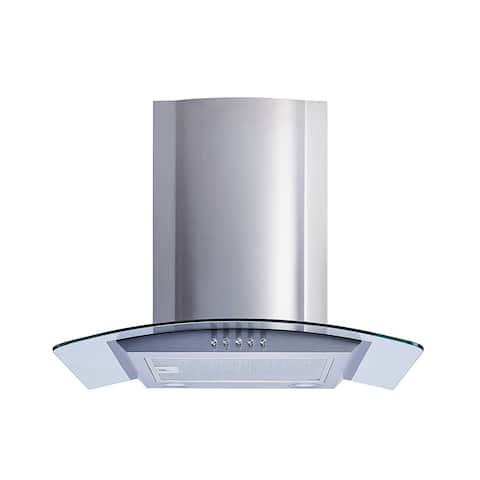 "Winflo O-W101C30 30"" Convertible Stainless Steel/Tempered Glass Wall Mount Range Hood"