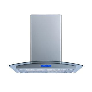 "Winflo O-WH101B30 30"" Convertible Stainless Steel/Tempered Glass Island Range Hood"