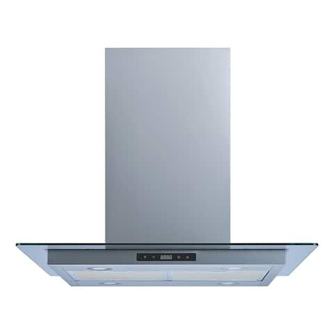 """Winflo O-WH114B30 30"""" Convertible Stainless Steel/Tempered Glass Island Range Hood"""