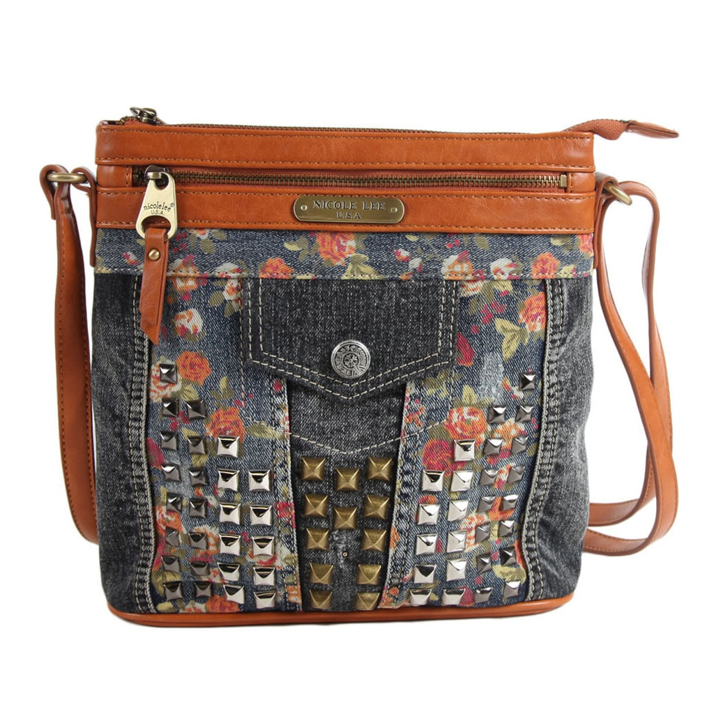 Nicole Lee Yellow-studded Denim Floral Crossbody Handbag ...