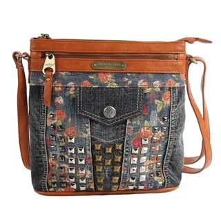 Nicole Lee Yellow-studded Denim Floral Crossbody Handbag